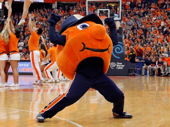 Otto the Orange, members of the Syracuse University cheerling team