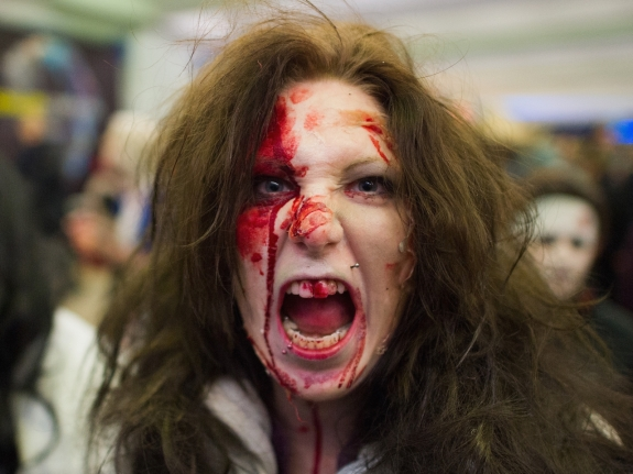 Flash Mob Gathers For Zombie Walk