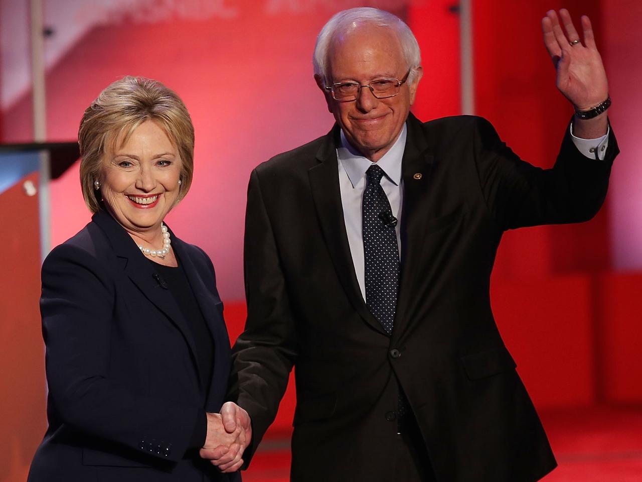 Democratic Presidential Candidates Hillary Clinton And Bernie Sanders Debate In Durham, New Hampshire