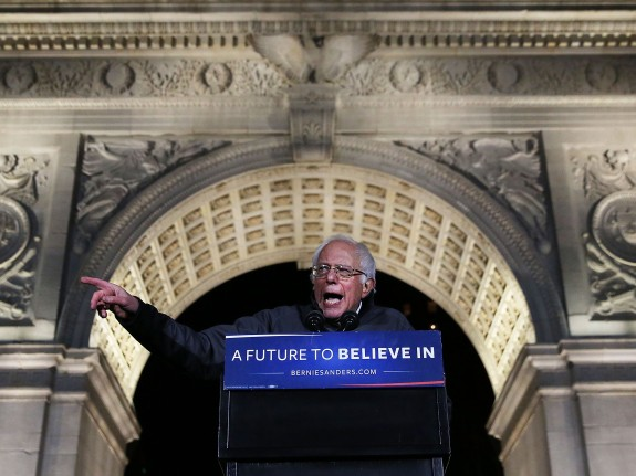 Bernie Sanders Holds Rally In New York's Washington Square Park