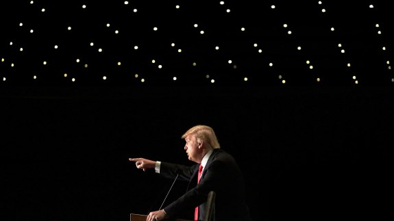 Donald Trump during a campaign event at the U.S. Cellular Convention Center on Feb. 1 in Cedar Rapids, Iowa.
