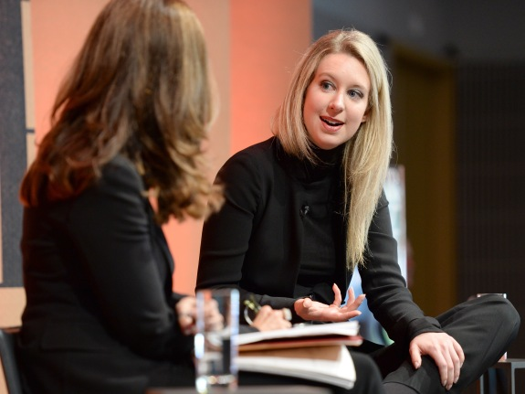 Theranos Founder and CEO Elizabeth Holmes speaks onstage during the Vanity Fair New Establishment Summit in October 2015.