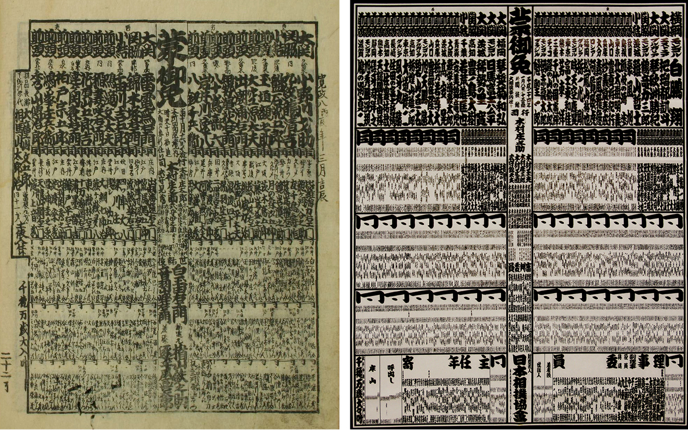 The basic style and structure of banzuke have gone unchanged for hundreds of years. The one on the left, from 1796, lists Raiden as the top-ranked ozeki in the West divison. On the right is a banzuke from 2012 that lists Hakuho as the top-ranked yokozuna in the East.