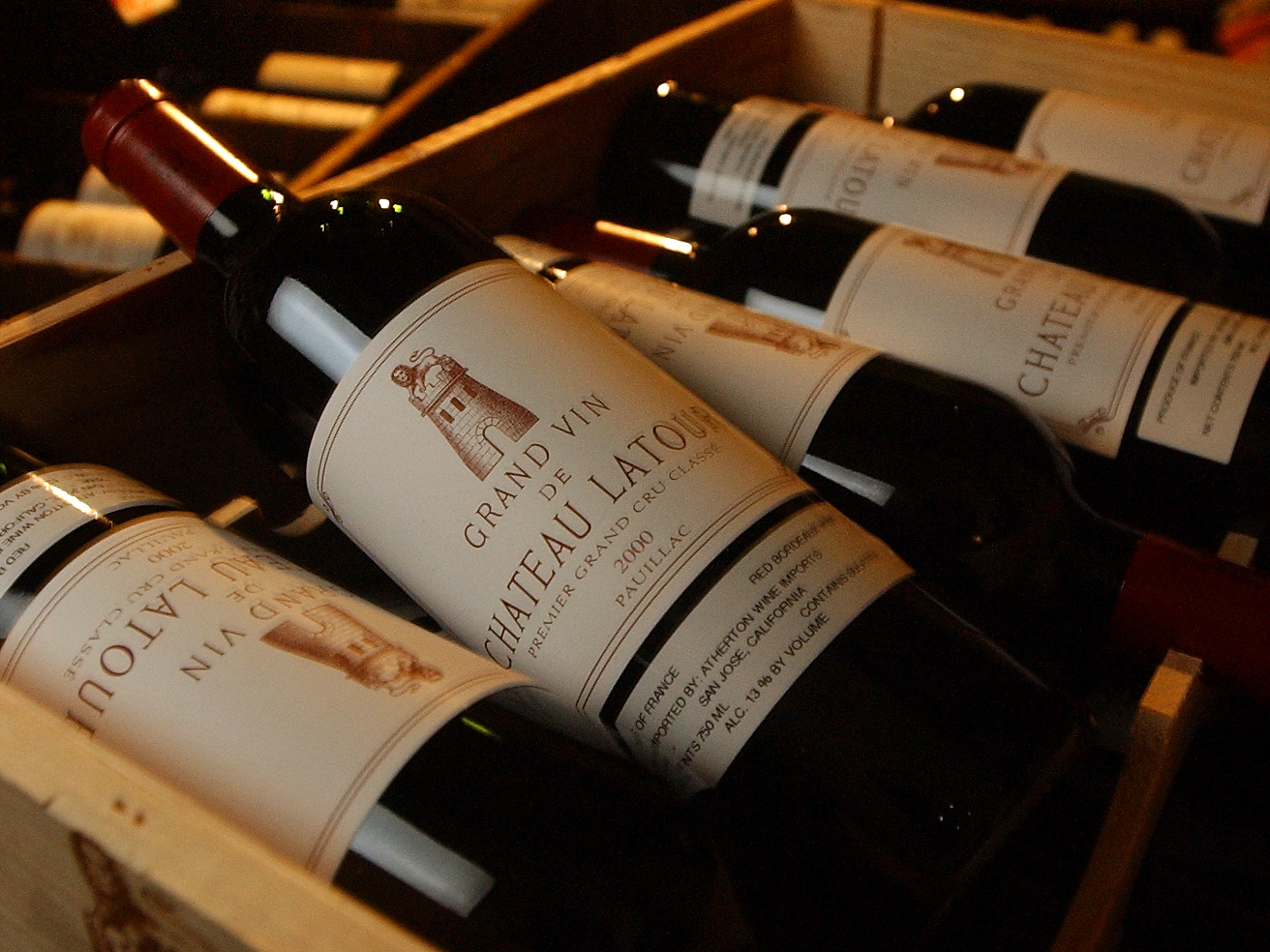 4/11/2003 – Cases of Bordeaux from Chateau Latour stacked up at Du Vin in West Hollywood. The highly
