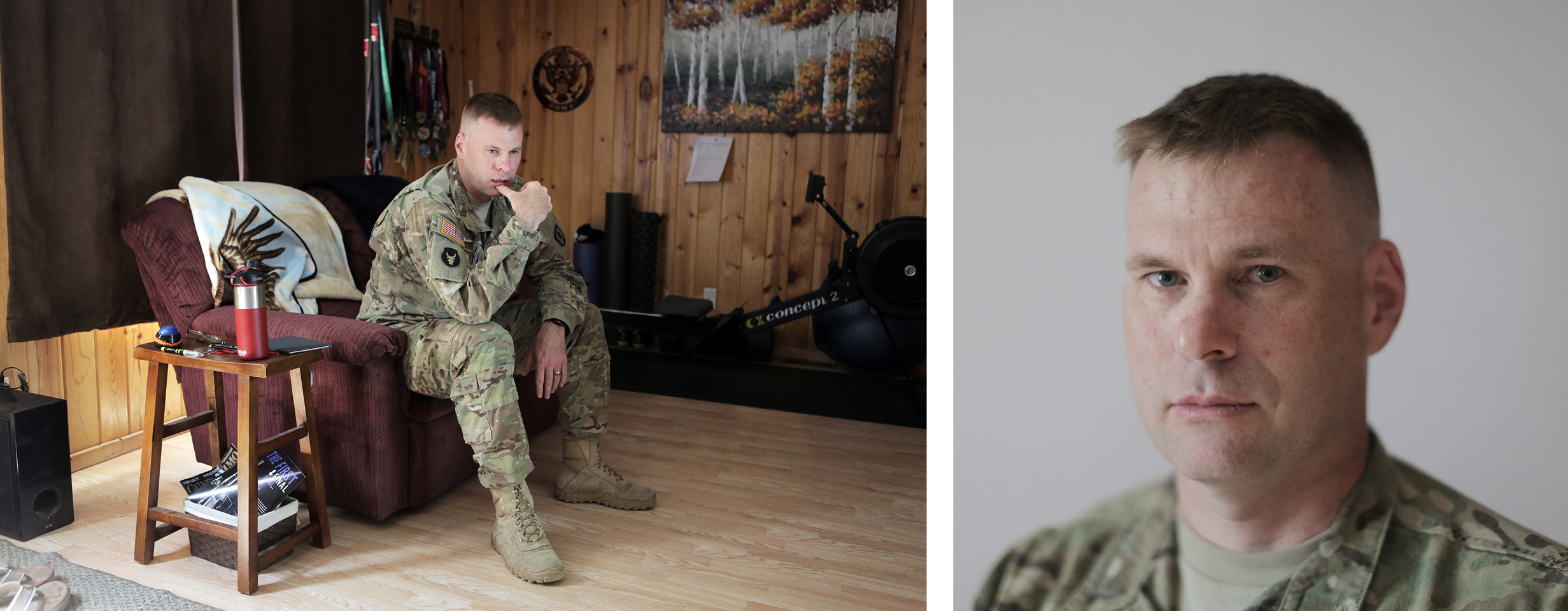 Sgt. 1st Class Joshua Guyse in his living room in Swanville, Minnesota.