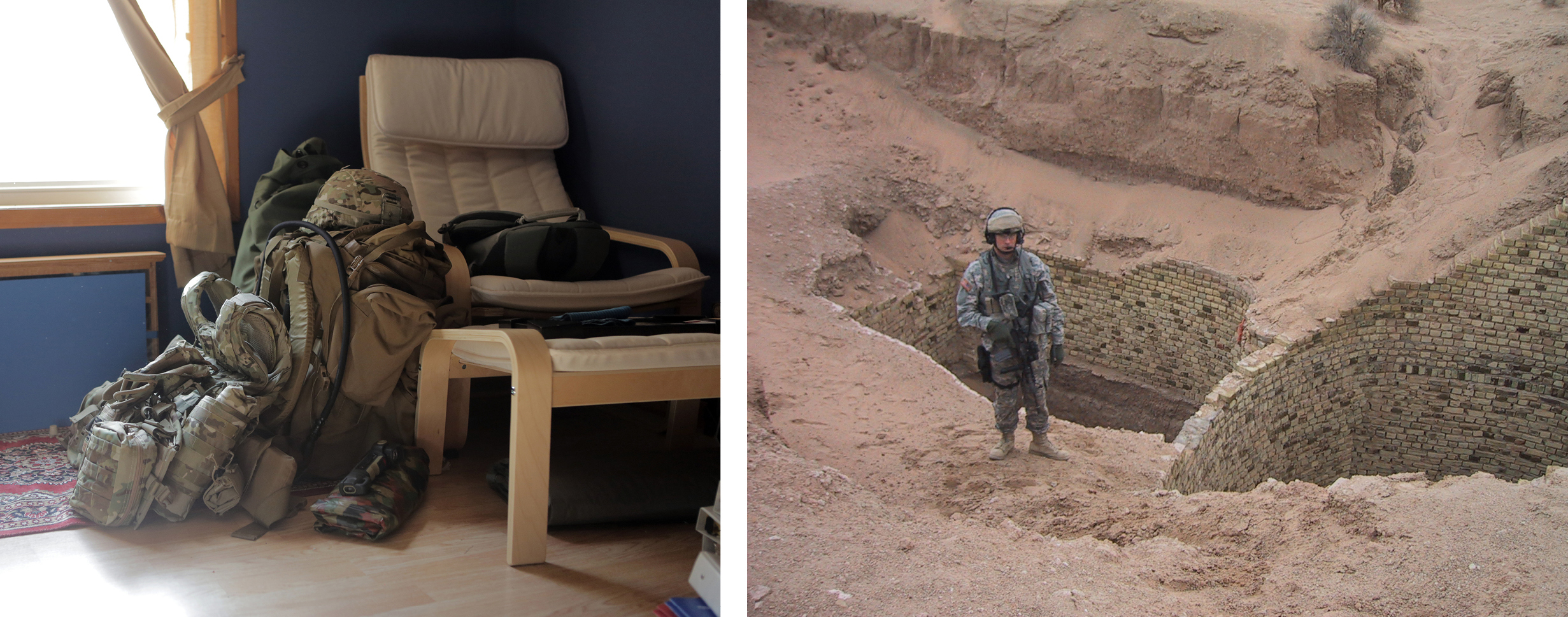 Guyse's pack and personal protective equipment in his home office. Guyse in Iraq.