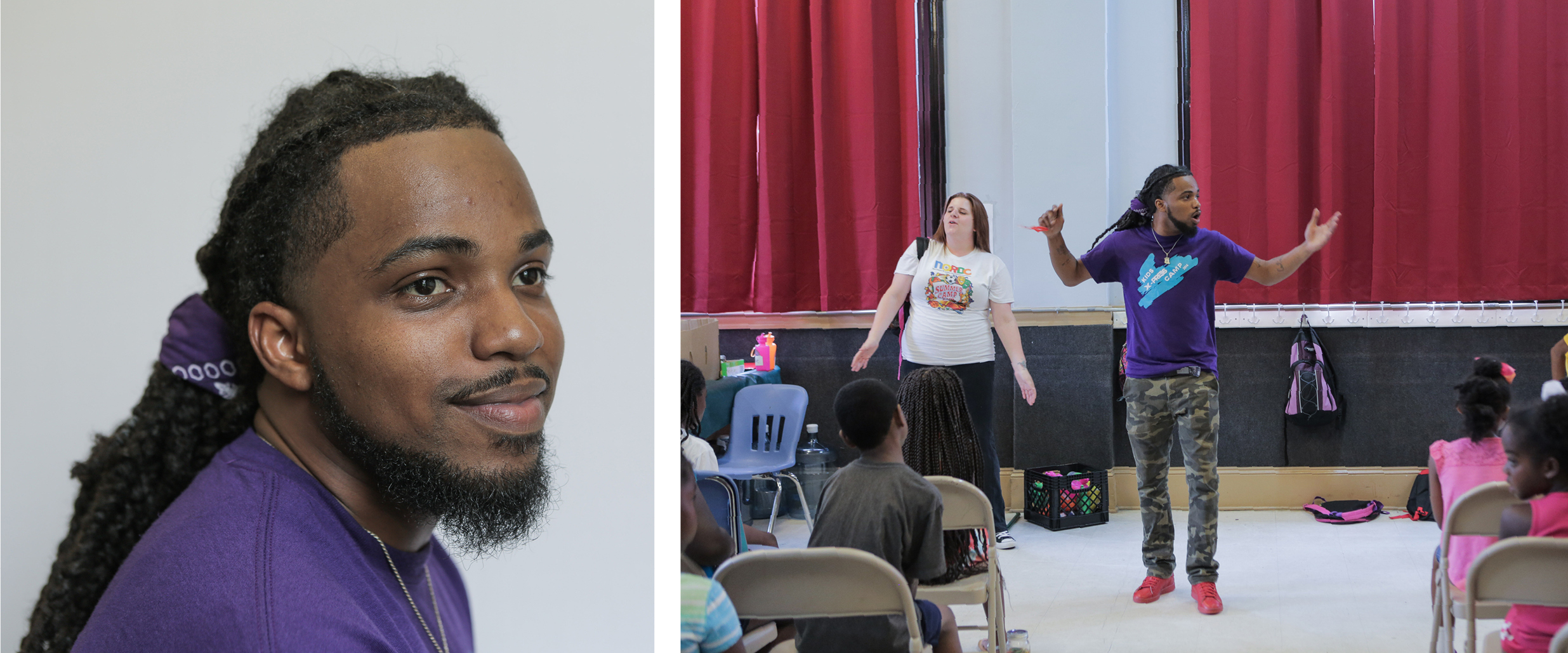 Darren Alridge now works at the New Orleans nonprofit organization where he took GED classes. Alridge calls on counselors at the Youth Empowerment Project to recognize outstanding students in their charge.