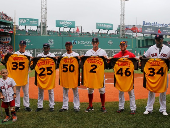 Steven Wright, Jackie Bradley Jr., Mookie Betts, Xander Bogaerts, Craig Kimbrel, David Ortiz