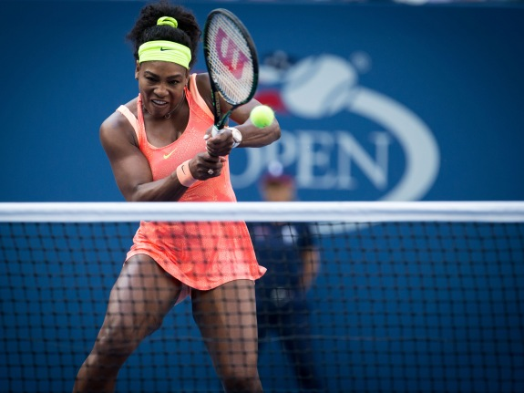 Tennis, 2015, U.S. Open, Women's qualifier match between #1 Ranked Serena Williams and Madison Keys.