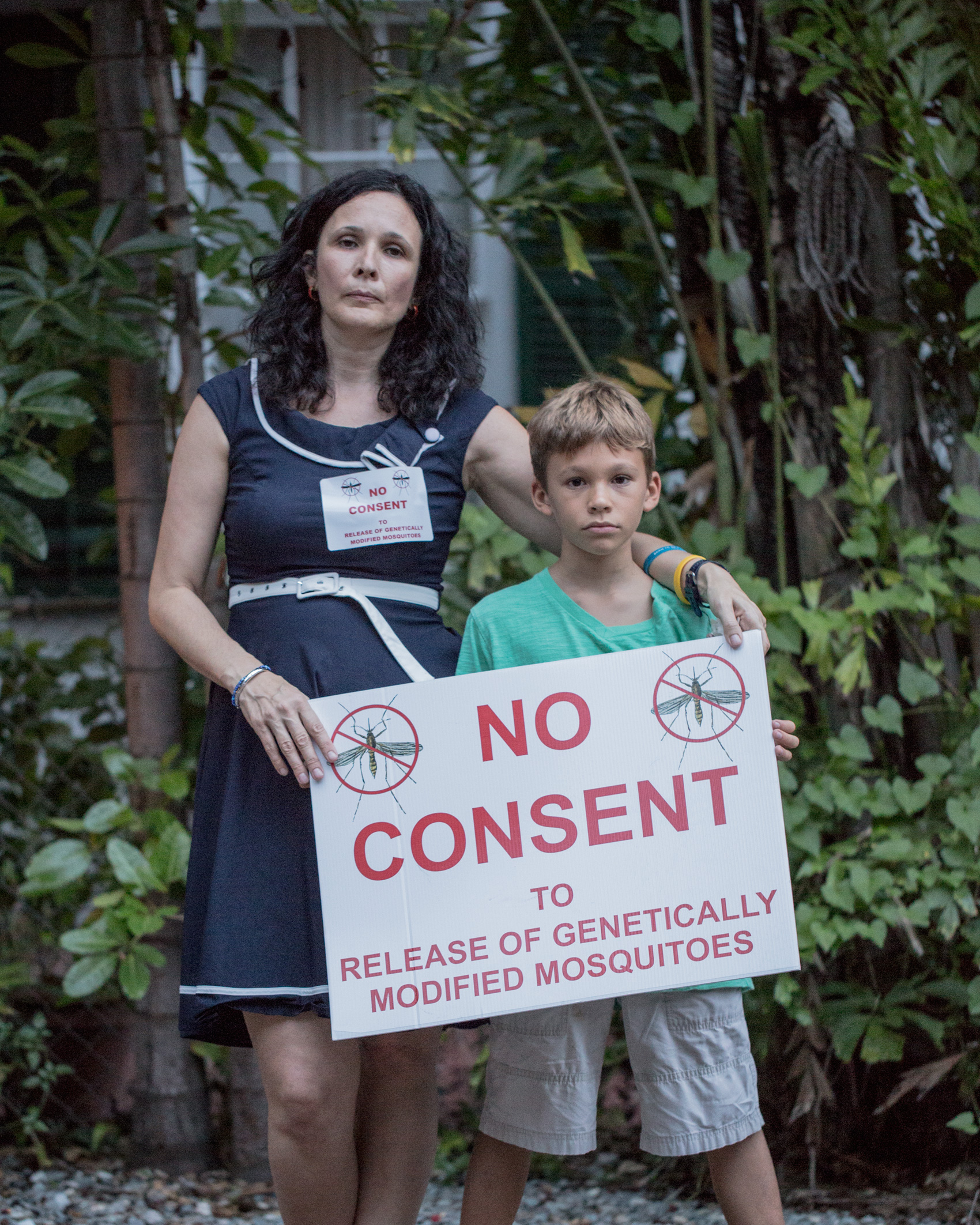 Mila de Mier, shown with her son Rubin, is one of the faces of the opposition.