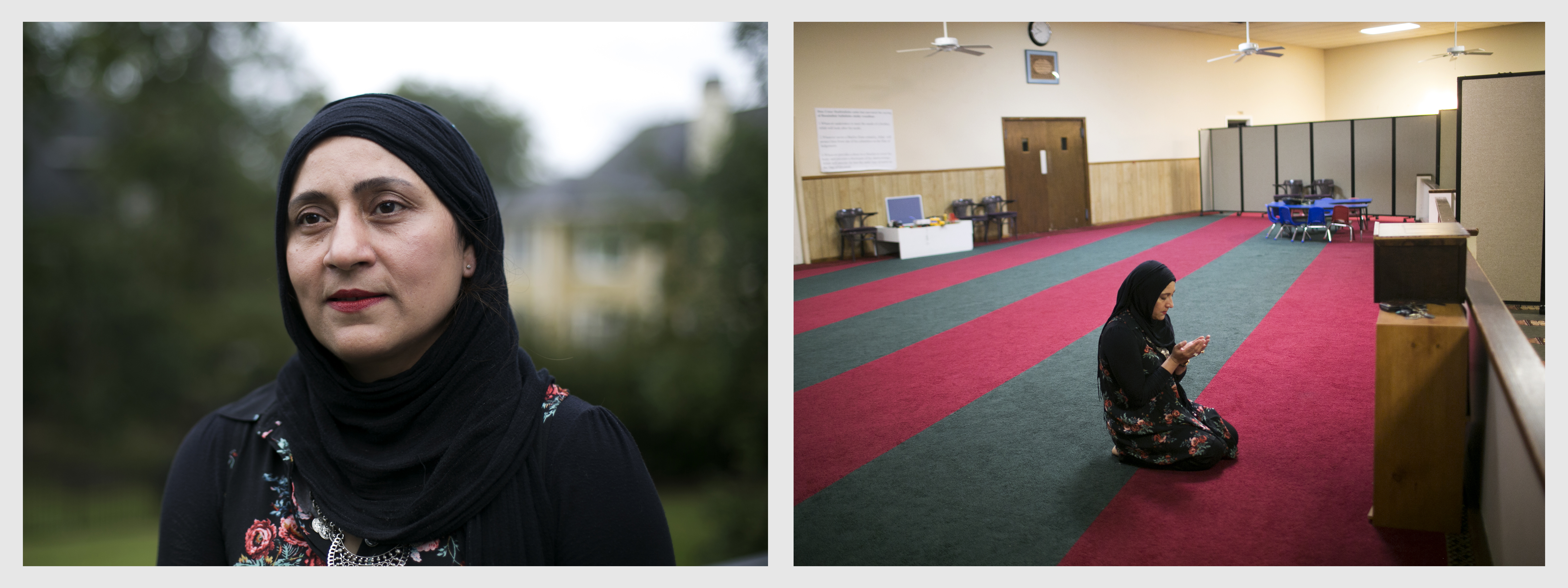 Ruby Abid at home, and at the Central Mosque of Charleston.