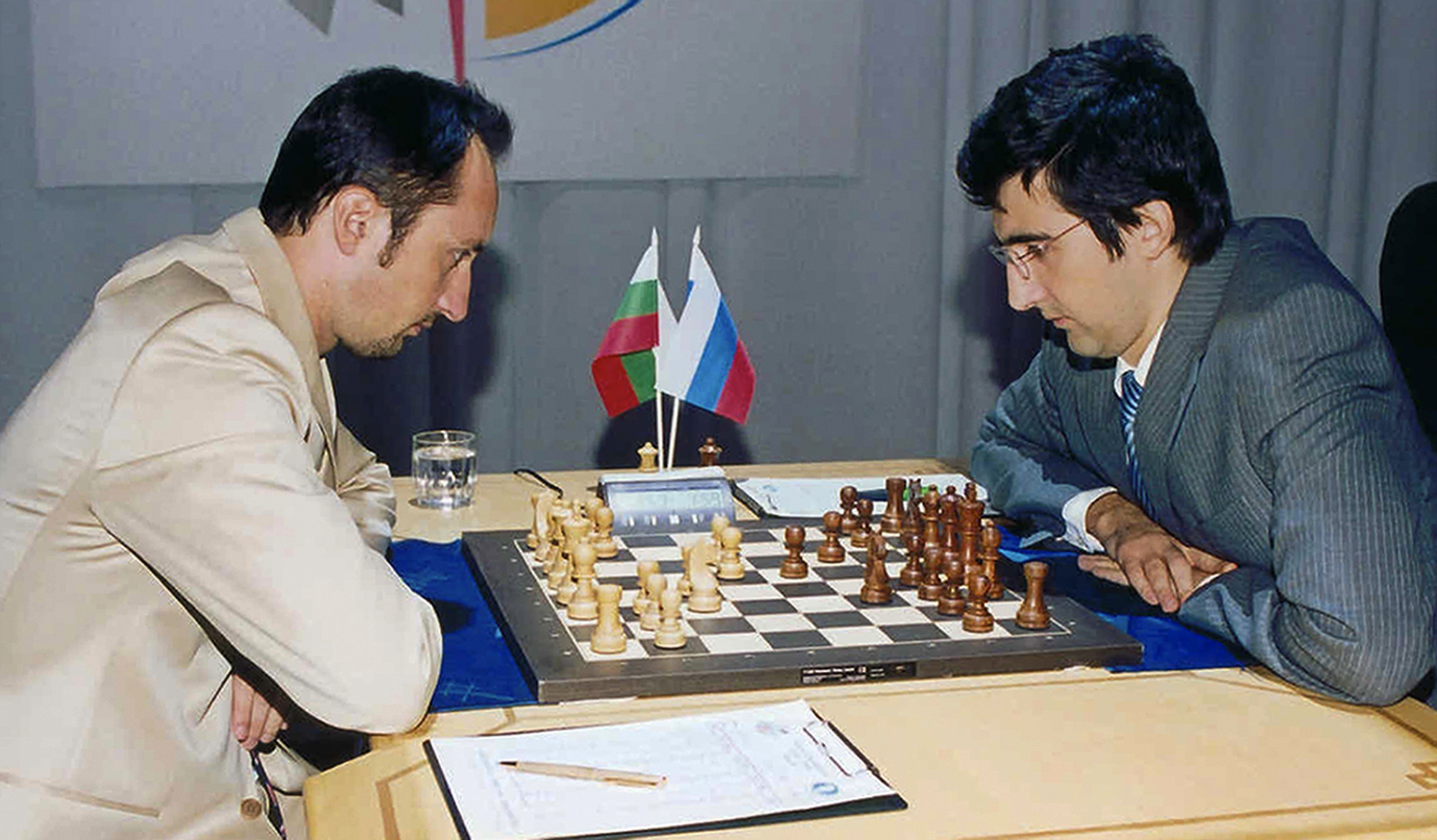Classical World Champion Vladimir Kramnik, right, and World Chess Champion Veselin Topalov, left, seen during the match in Elista, capital of Kalmykia, southern Russia, Wednesday, Oct. 4, 2006.