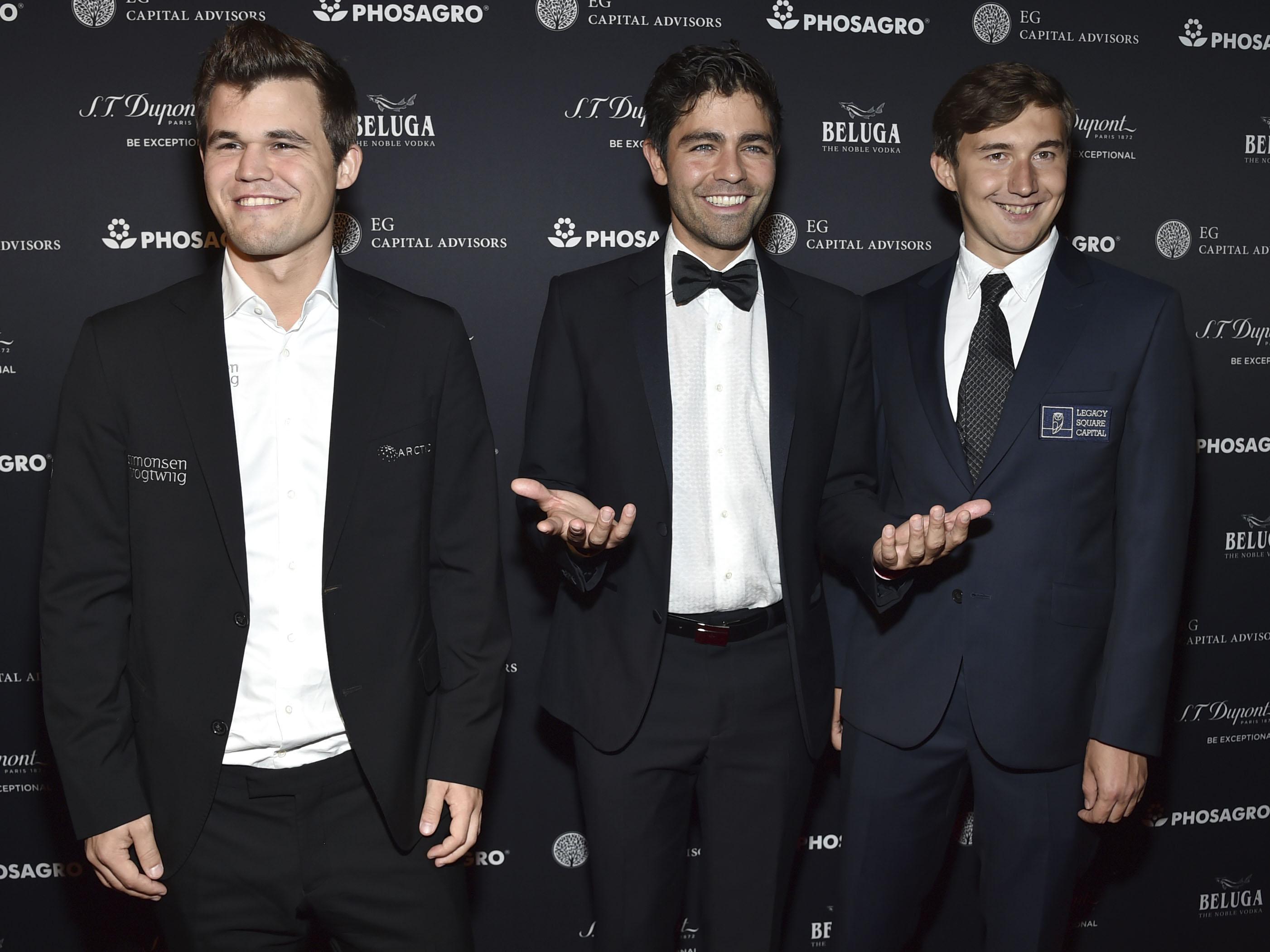 Magnus Carlsen,Adrian Grenier,Sergey Karjakin