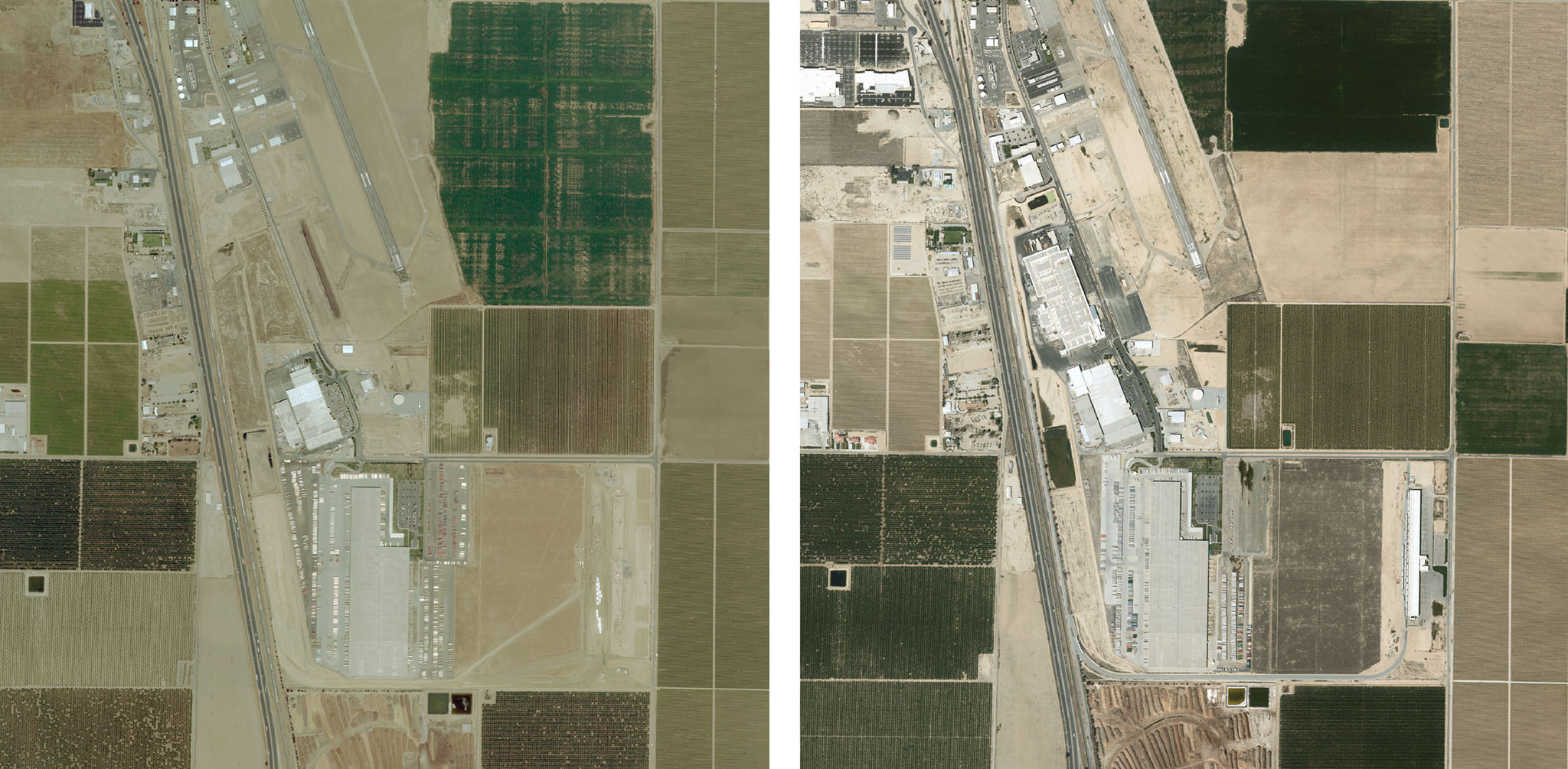 Large farms are getting larger. Above, the global headquarters of Wonderful Citrus in Delano, Calif.