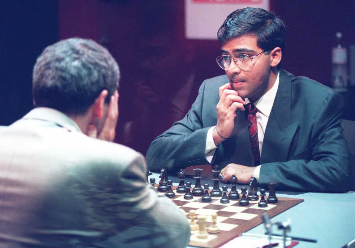 Vichy Anand contemplates his move against Gary Kasparov at the World Chess Championship in 1995.