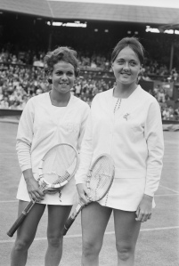 Evonne Goolagong (left) and Peaches Bartkowicz during the Wimbledon Championships, June 1970.