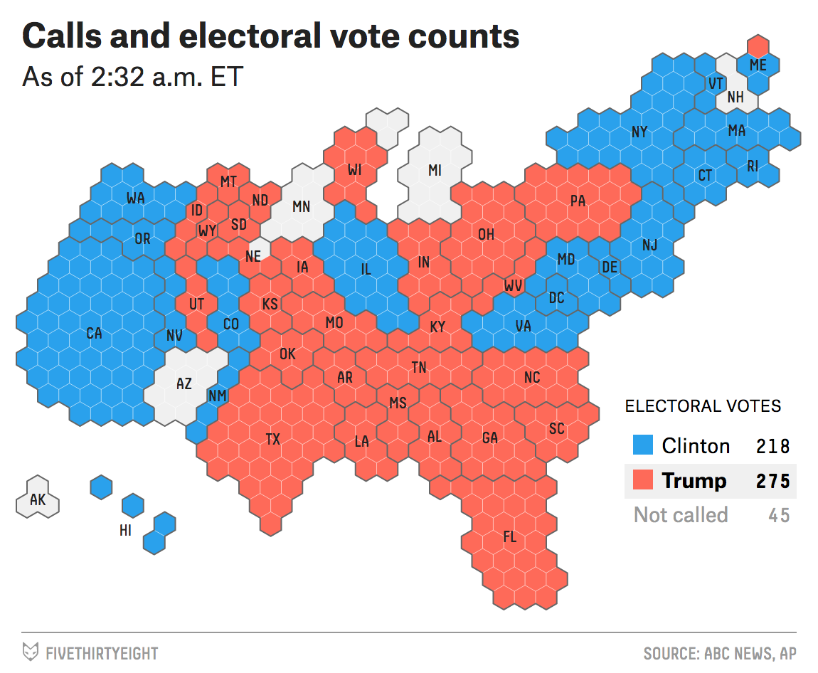 2016 Electoral State Map.2016 Election Night Live Coverage And Results Fivethirtyeight