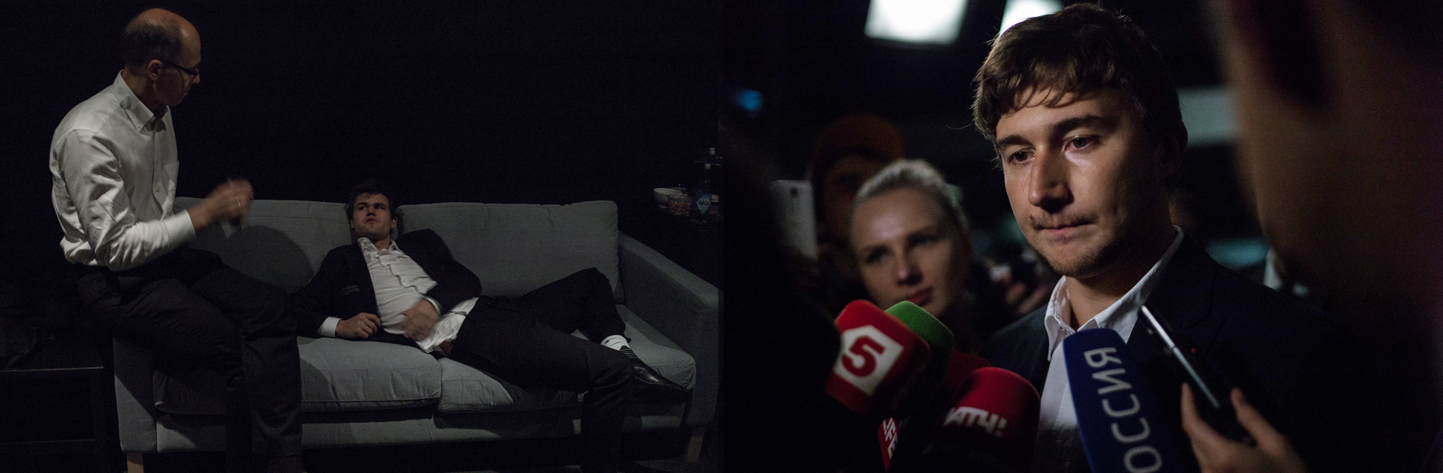 Left: While waiting for the title ceremony, Magnus Carlsen is finally able to relax with his father by his side. Right: Following his defeat, Karjakin was clearly disappointed while speaking to the Russian media. He confirmed rumors about travelling to New York with a Virgin Mary icon.