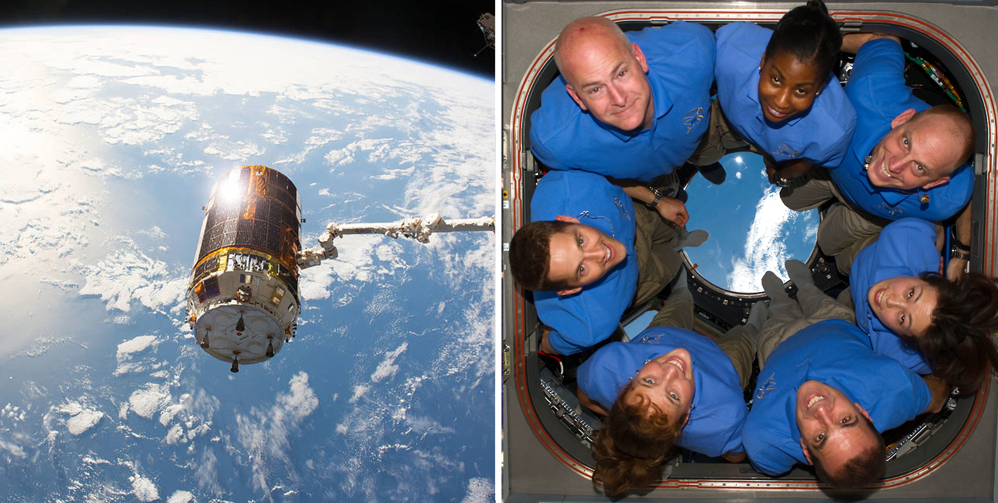 Left: The Japanese HTV-6 cargo craft in the grip of a Canadian Space Agency robotic arm after it was detached from the Harmony module of the International Space Station. Right: NASA and Japan Aerospace Exploration Agency crew members of the STS-131 in the cupola of the International Space Station.