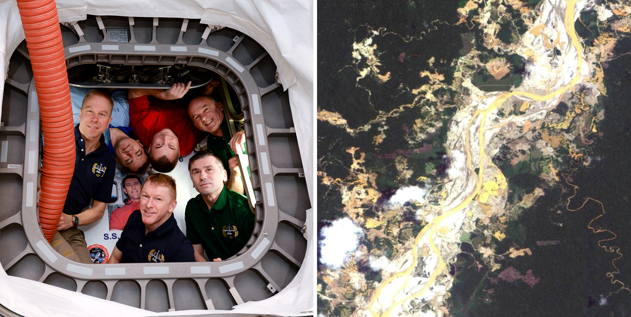 Left: NASA, Roscosmos and ESA crew members of Expedition 47. Right: Mines in Peru as photographed by a Nigerian satellite.