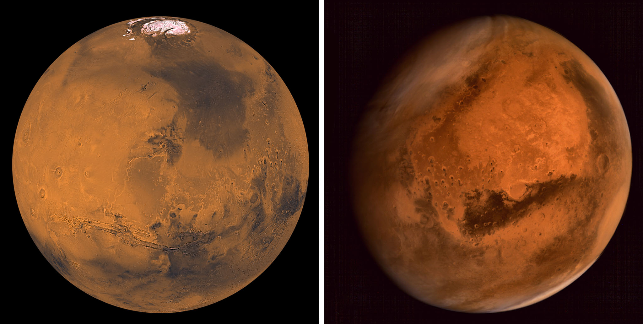 Left: A mosaic image of Mars made by NASA. Right: Mars, taken by the Mars Colour Camera onboard India's Mars Orbiter Spacecraft.