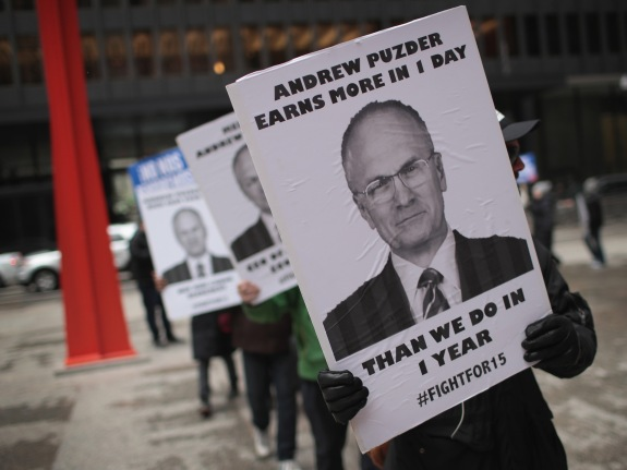 Food Workers Protest Andy Puzder's  Labor Secretary Nomination
