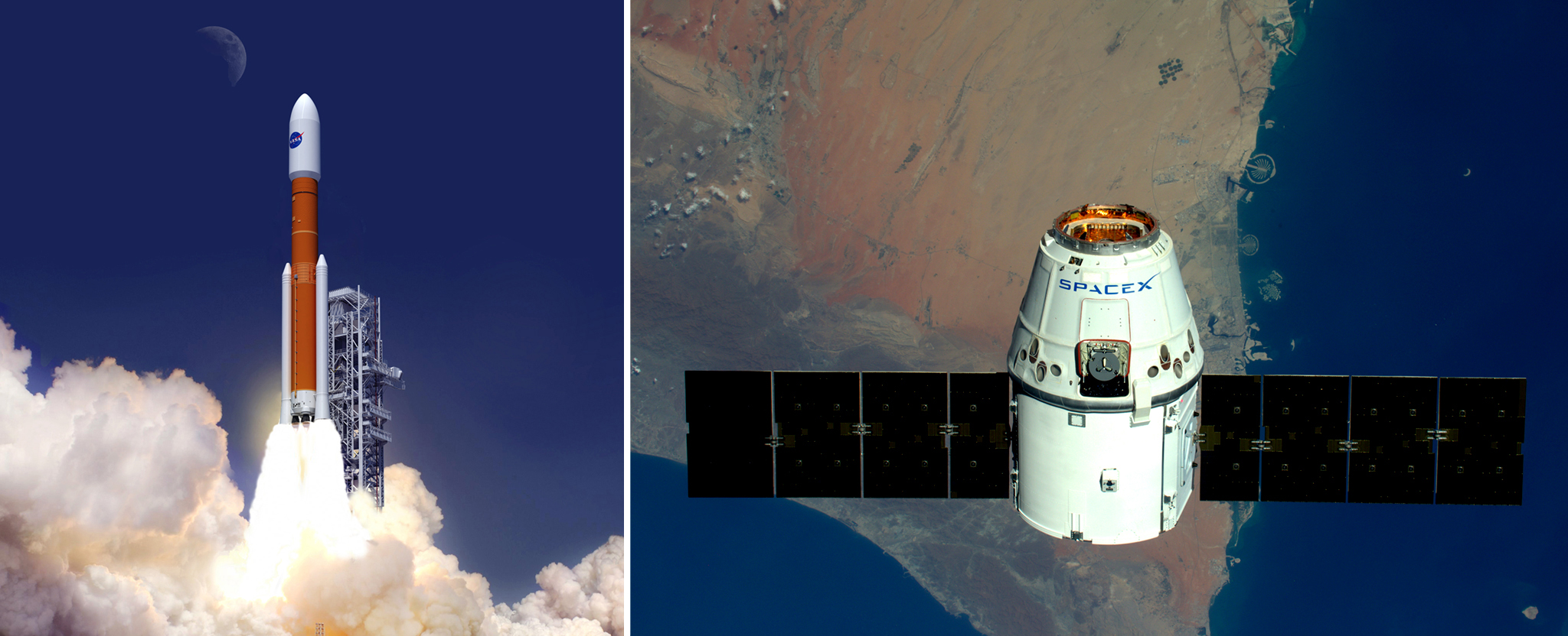Left: An artist's concept of NASA's Space Launch System. Right: SpaceX's Dragon spacecraft flying over Dubai.
