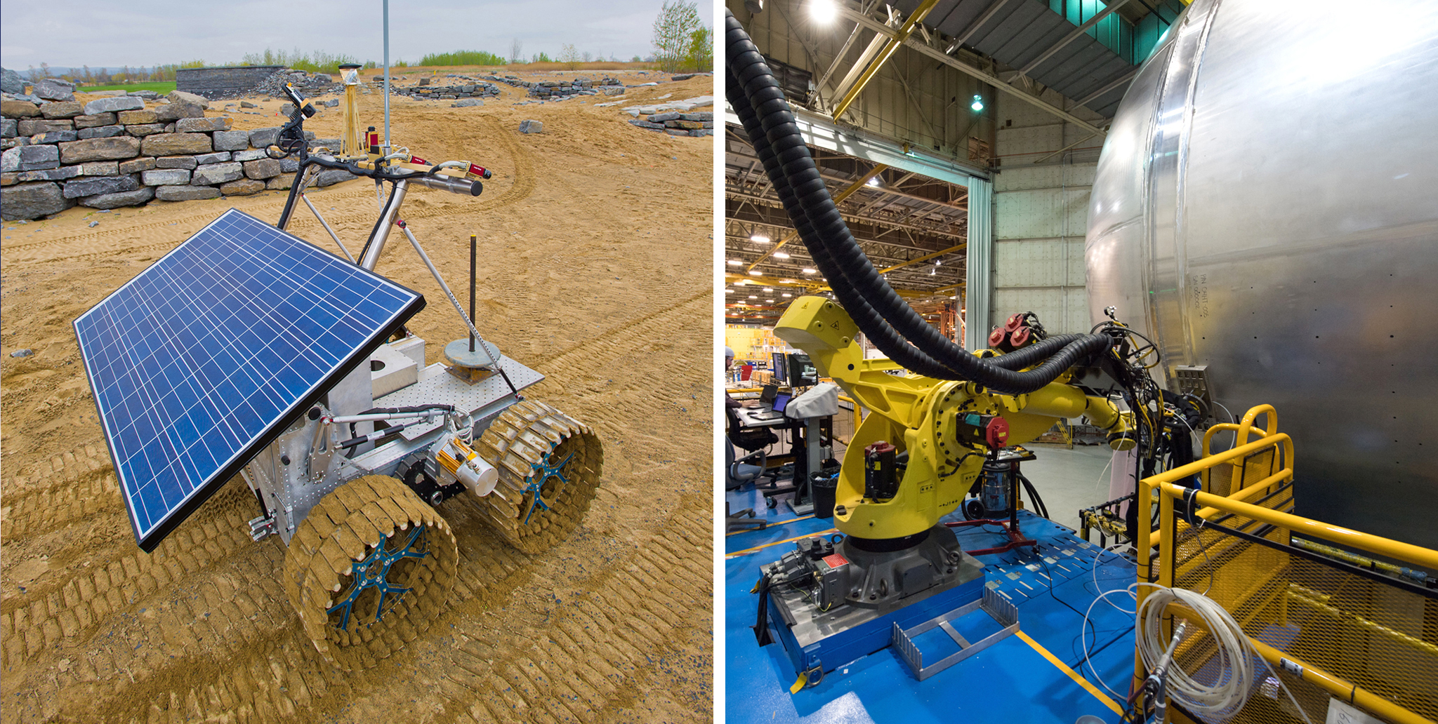 "Left: The Artemis Jr. rover holds exploration instruments. In 2012, this was used to perform two ""in situ resource utilization"" demonstrations: find, characterize and map the presence of ice and other volatiles and a group of small projects and tests that will help with new exploration techniques on the surface of the moon or Mars. Right: The liquid hydrogen tank is more than 130 feet long and is the largest part of the Space Launch System's core stage -- the backbone of the rocket."