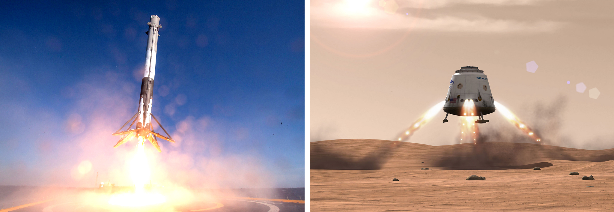 Left: SpaceX's Falcon 9 spacecraft makes its first successful upright landing on April 8, 2016, on a ship in the Atlantic Ocean after launching from Cape Canaveral, Florida. Right: Concept drawing of a Mars landing, showing retrorockets firing.