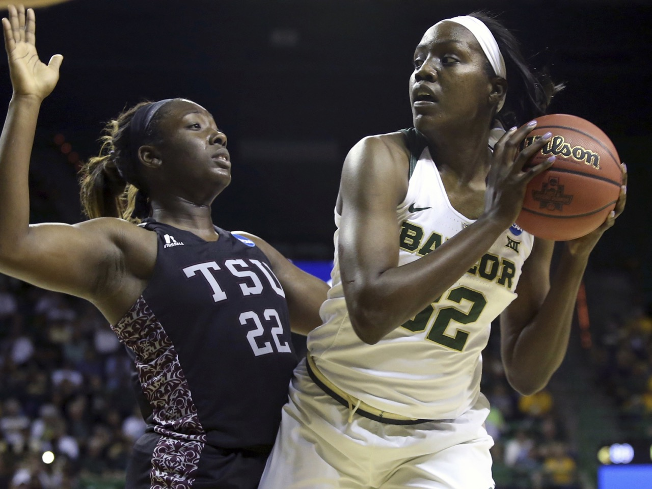 Baylor forward/center Beatrice Mompremier (32) Texas Southern forward Breasia McElrath (22)
