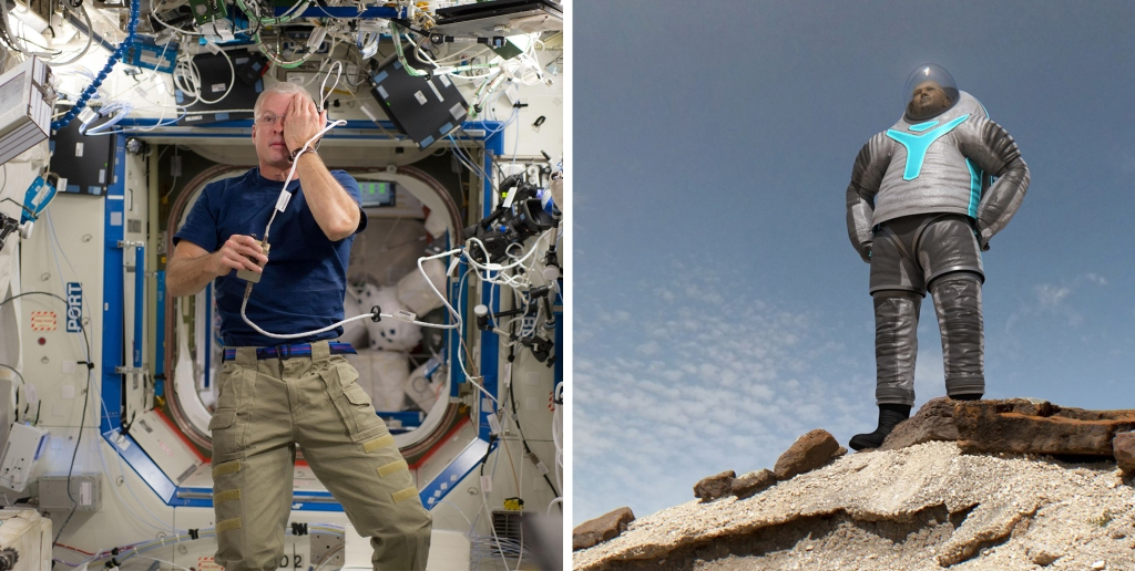 Left: NASA astronaut Steve Swanson performs visual testing on the International Space Station. Right: NASA's Z-2 suit is the newest spacesuit prototype. Each suit iteration has technologies that one day will be used by humans on Mars. The most significant new feature of this suit is that it has a hard composite upper torso, which provides the long-term durability that planetary excursions will require.