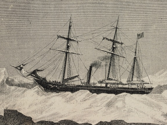 Pyramid of Meidum, Egypt, top, and USS Jeannette with some of her crew, expedition to reach North Pole, engraving from LIIllustrazione Italiana, no 4, January 22, 1882