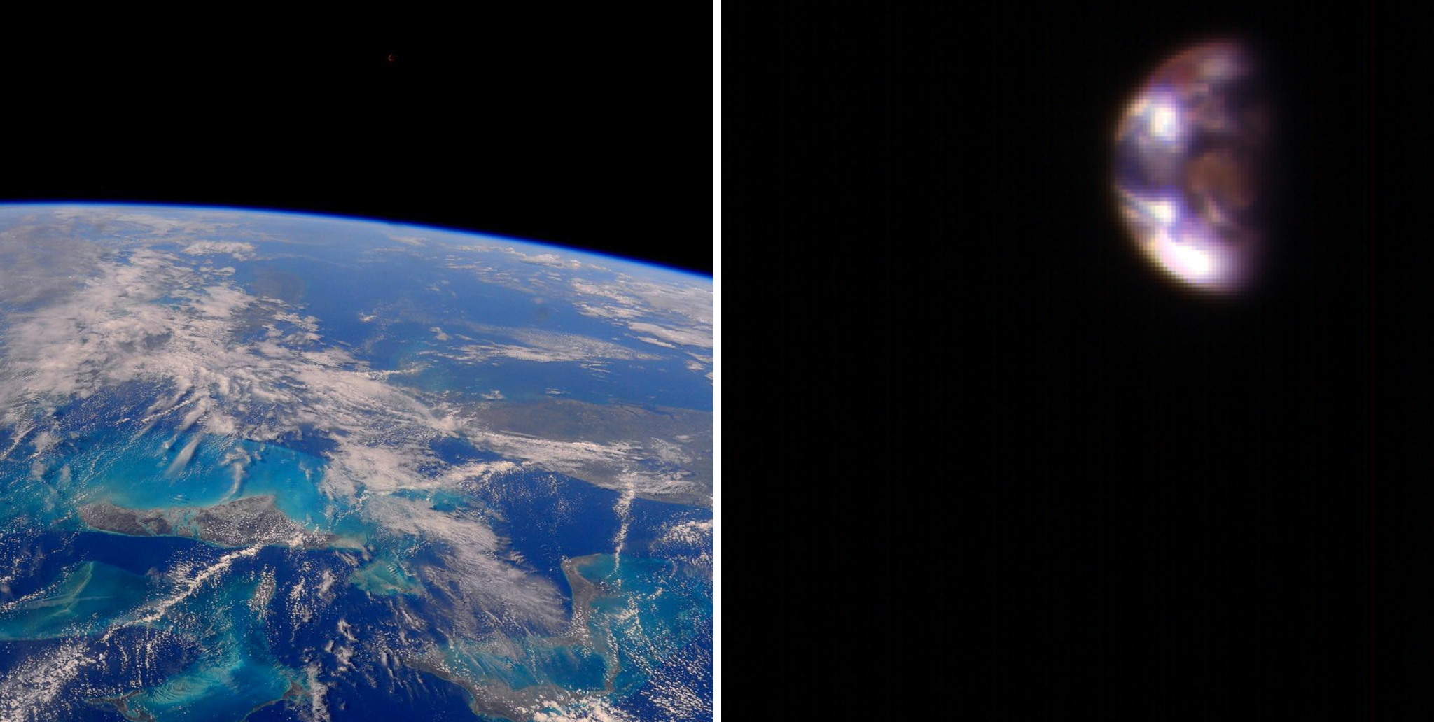 Left: View of Earth from the International Space Station. Right: A composite image of Earth from Mars. When the component photos used for the image on the right were taken, Mars was about 127 million miles from Earth.