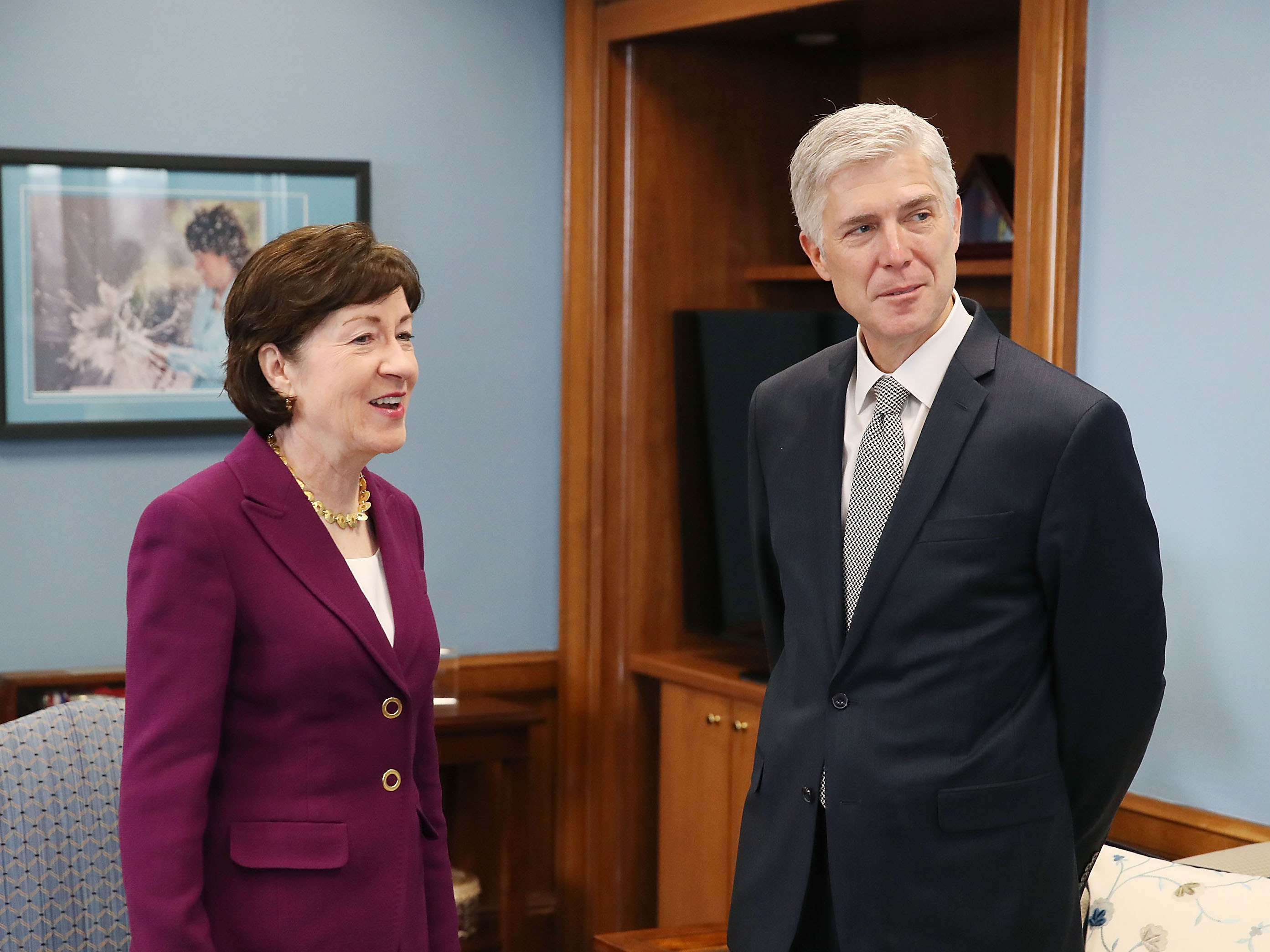 Sen. Susan Collins (R-ME) meets with Supreme Court nominee Neil Gorsuch in her office on Capitol Hill in February.