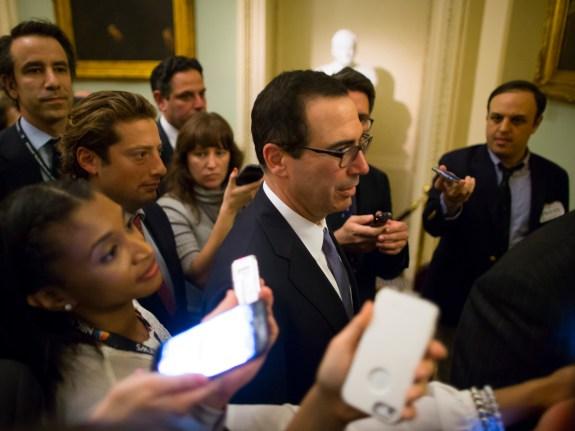 Treasury Secretary Mnuchin Meets With Congressional Leaders On Capitol Hill