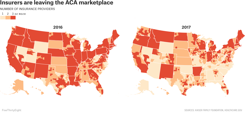 Map: Insurers are leaving the ACA marketplace