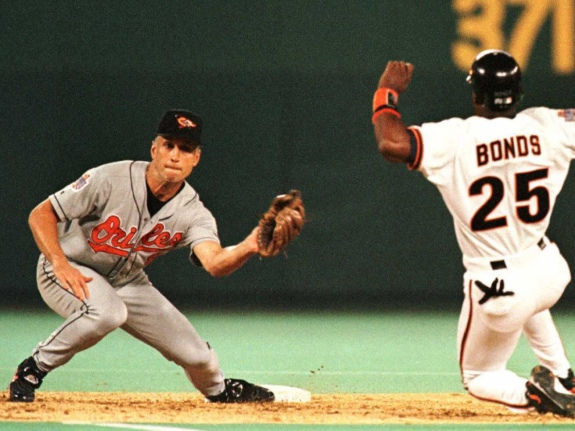 Baltimore Orioles' Cal Ripken Jr. (L) prepares to