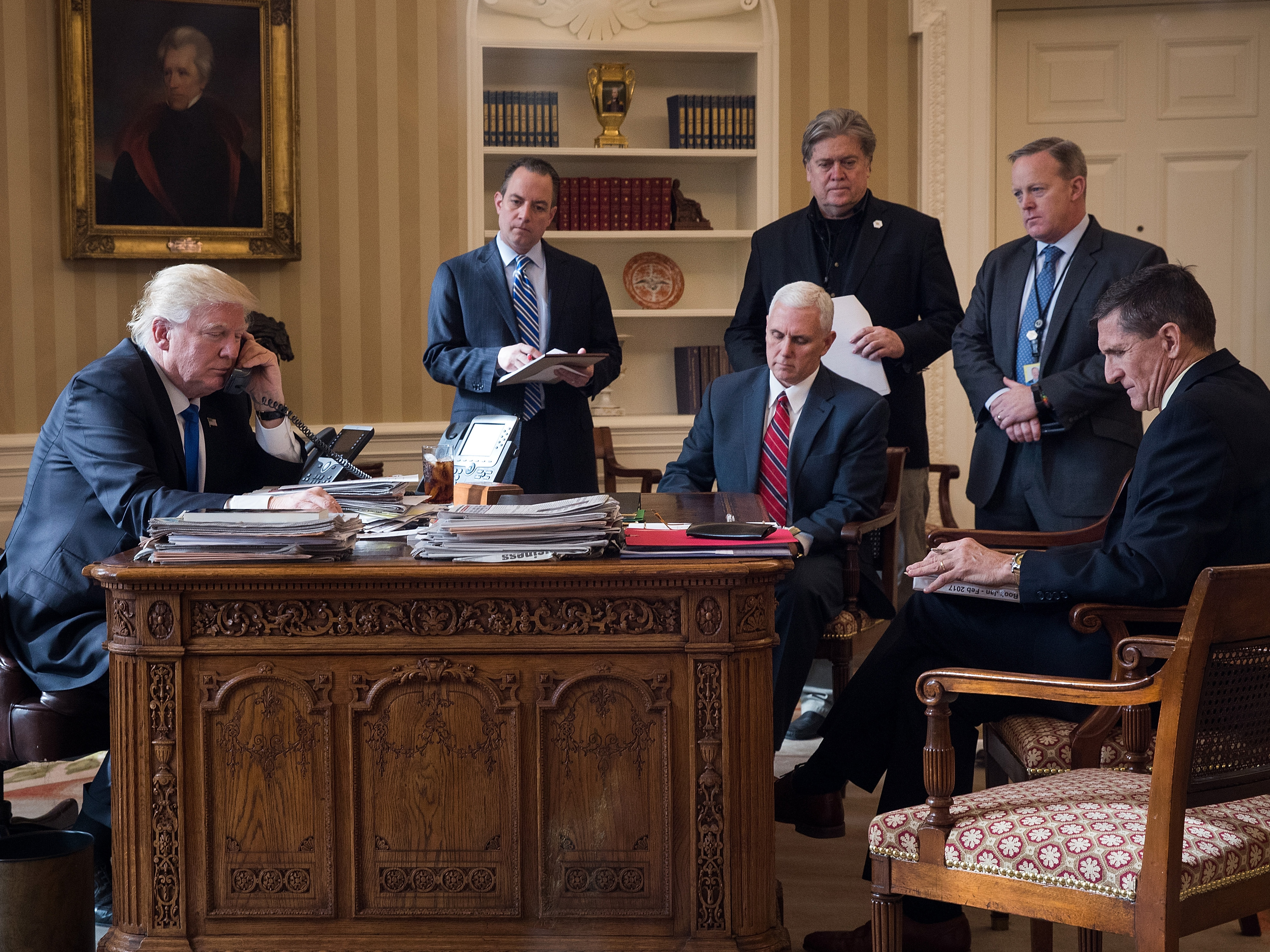 Donald Trump Speaks With Russian Leader Vladimir Putin From The White House
