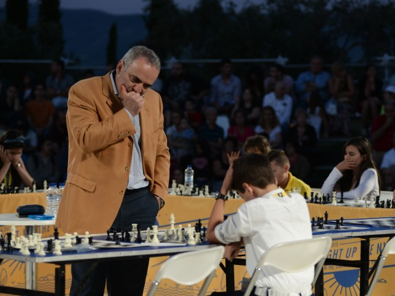 Garry Kasparov respected his young opponents at the simultanous chess contest