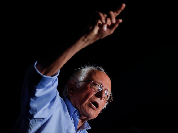 """Bernie Sanders during a """"Care Not Cuts"""" rally in support of the Affordable  Care Act in July in Covington, Kentucky."""