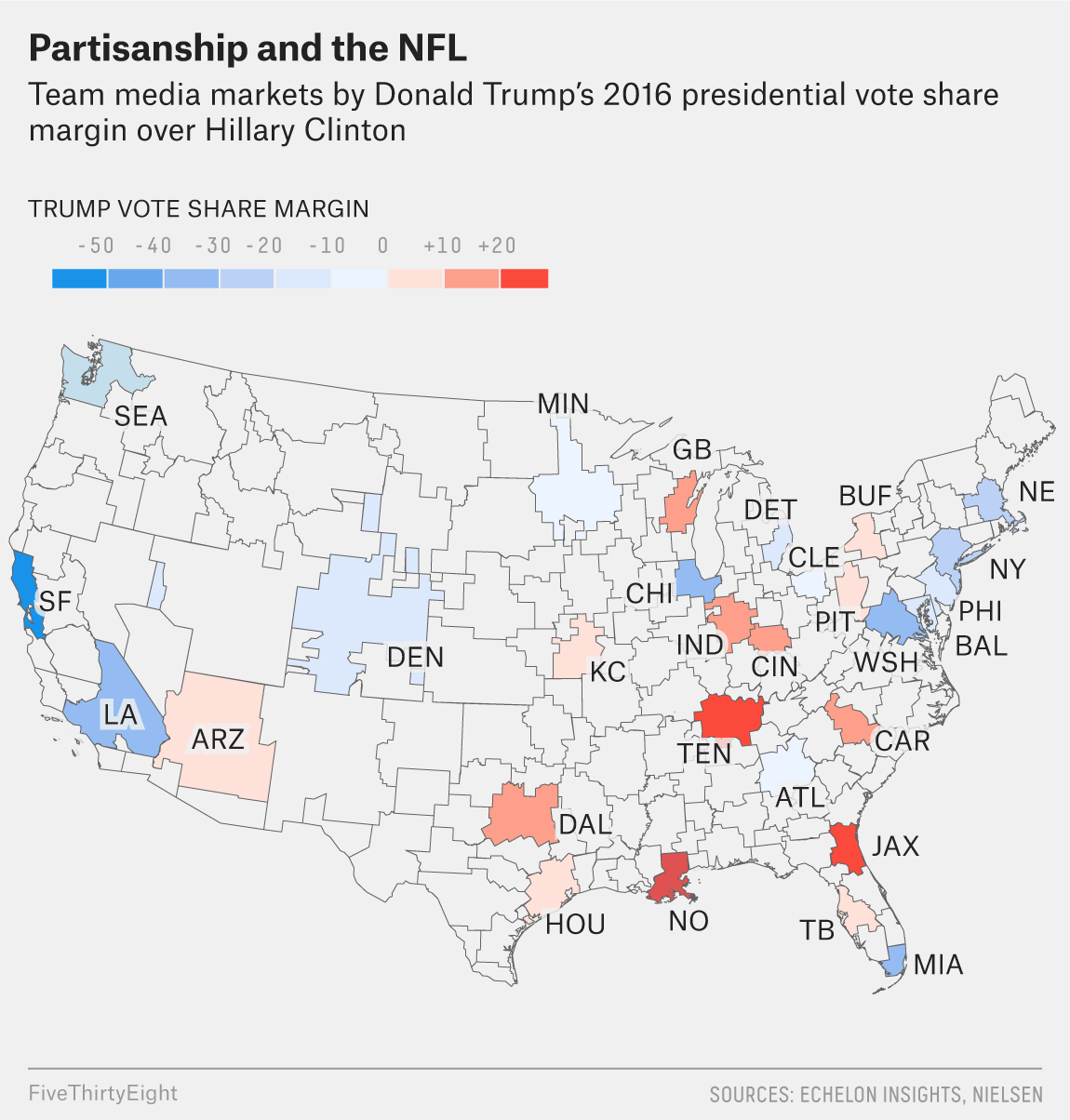 How Every NFL Team's Fans Lean Politically | FiveThirtyEight on map of nfl teams in usa, map of all disney, map of favorite nfl teams, map of all mls teams, us map nfl teams, central hockey league teams, us map of baseball teams, map nfl teams by fans, map of all cfl teams, map of nfl stadiums, map of all colleges, map of all mlb, map of all saints, map of all football players, map with nfl team division, map of the nfl, map of all animals, map of nfl teams poster, map of all new england, map of nfl cities,