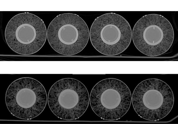 CT scans of four baseballs from 2014 -- 2015 and four from 2016 -- 2017