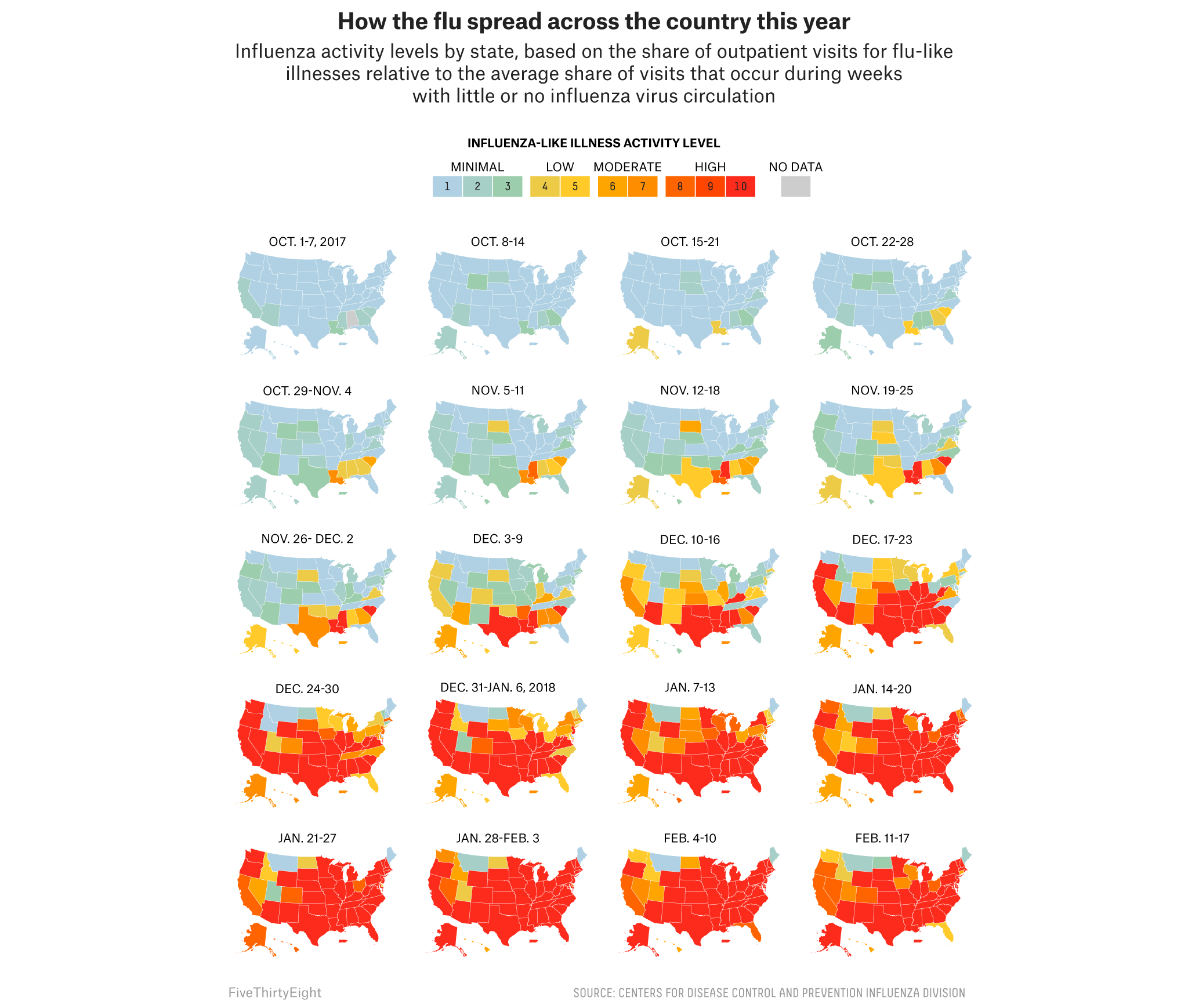 This Year's Super Bad Flu Season In 20 Maps | FiveThirtyEight on san diego flu map, united states flu chart, united states of good beer, florida flu map, fl flu map, africa flu map,