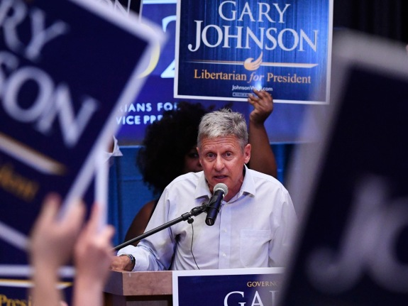 Governor Gary Johnson, Libertarian nominee for President holds a rally at the University of Colorado South Denver Campus in Parker, Colorado.