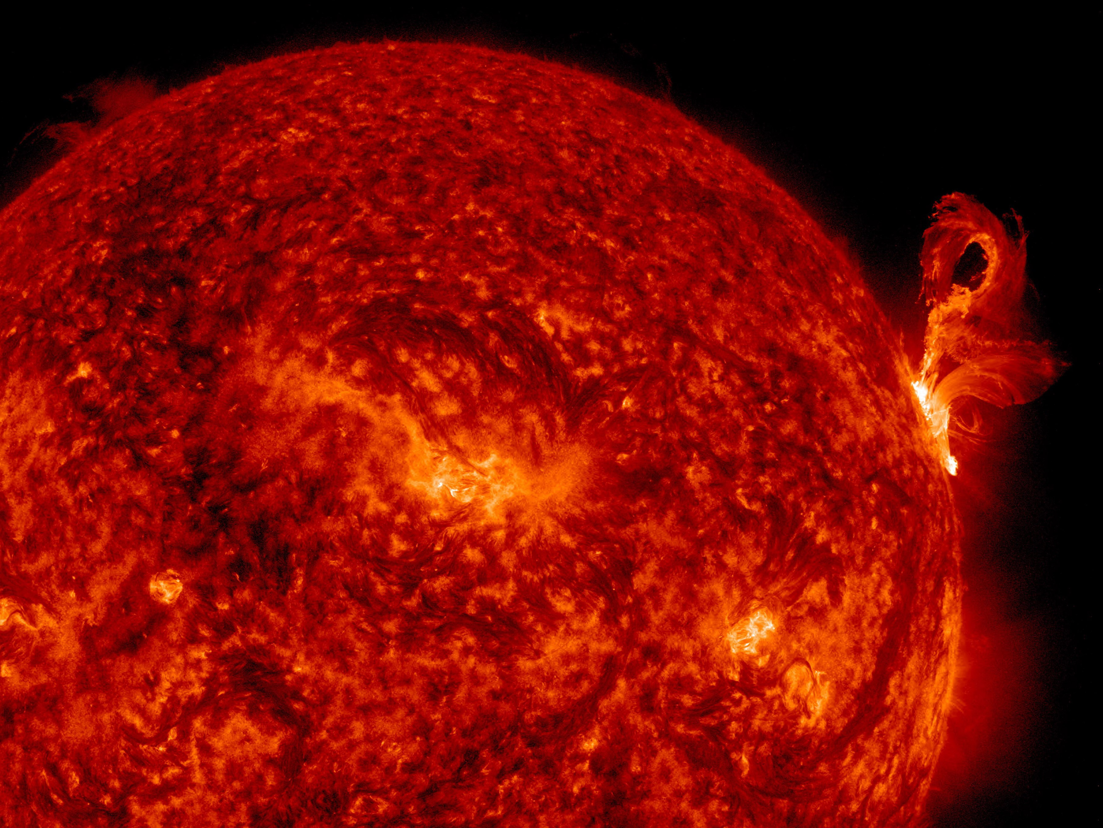 Eruption of solar material off the surface of the sun.