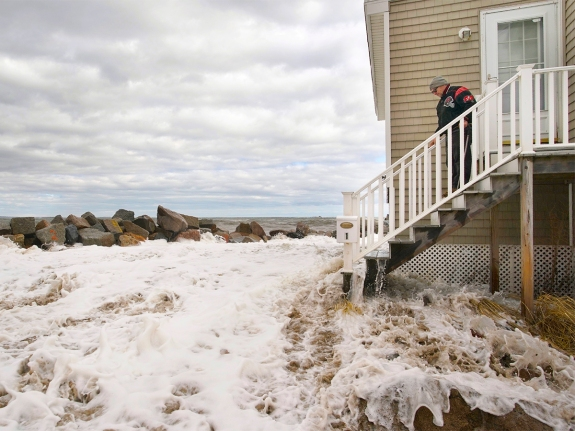 Coastal flooding in Camp Ellis in Saco