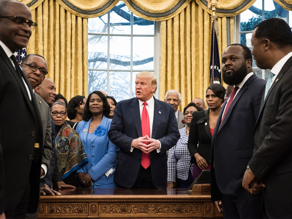 Image result for trump surrounded by black people
