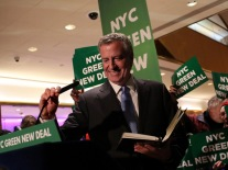 Mayor Bill De Blasio Holds Green New Deal Rally At Trump Tower