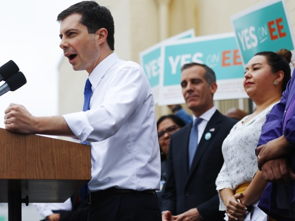 Democratic Presidential Candidate Pete Buttigieg And L.A. Mayor Eric Garcetti Meet With Labor Unions In Los Angeles
