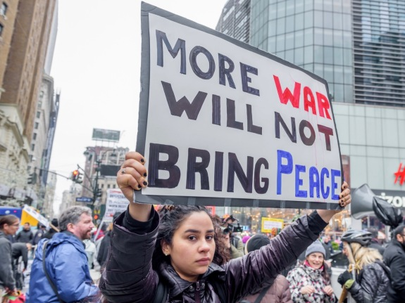 Hundreds took to the streets as antiwar and social justice